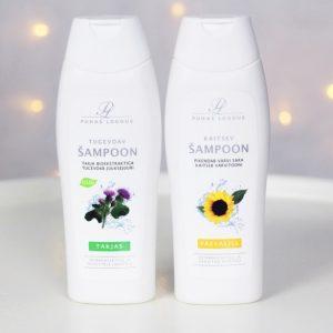 Puhdas loodus takiais ja auringonkukka shampoo kuva