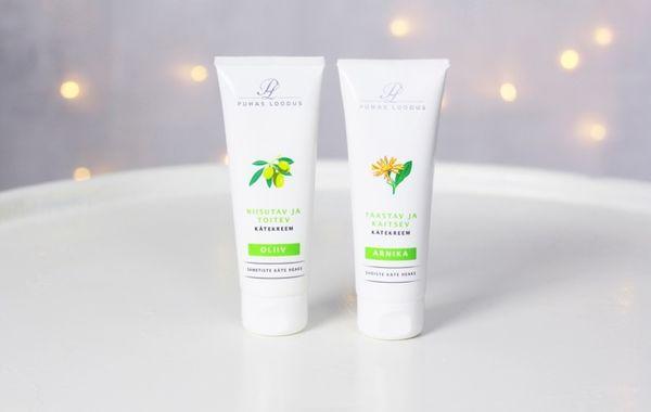puhdas loodus ihoa uudistava ja suojaava arnikki ja oliivi käsivoide kuva